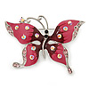 Pink Enamel Crystal Butterfly Brooch In Rhodium Plating - 55mm W
