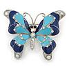 Navy & Sky Blue Enamel Crystal Butterfly Brooch In Rhodium Plating - 50mm W