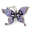 Purple & Violet Enamel Crystal Butterfly Brooch In Rhodium Plating - 55mm W