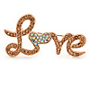 Citrine/ AB Crystal 'Love' Brooch In Rose Gold Tone - 50mm L