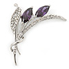Amethyst CZ, Clear Crystal Floral Brooch In Rhodium Plating - 55mm L