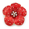Red Enamel, Crystal Poppy Flower Brooch In Gold Plating - 50mm D