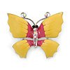 Yellow/ Pink Enamel, Crystal Butterfly Brooch In Silver Tone - 40mm Across