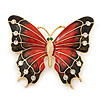 Oversized Red/ Dark Brown Enamel Butterfly Brooch In Gold Plating - 80mm Across