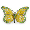 Olive/ Light Green Enamel, Crystal Butterfly Brooch In Rhodium Plating - 65mm Across