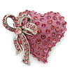 Romantic Pink Crystal Heart with Bow Brooch In Rhodium Plating - 35mm L