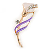 Delicate Pink/ Purple Crystal Calla Lily Brooch In Gold Plating - 55mm L