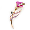Delicate Fuchsia/ Pink Crystal Calla Lily Brooch In Gold Plating - 55mm L