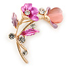 Fuchsia/ Pink Crystal Calla Lily With Cat's Eye Stone Floral Brooch In Gold Tone - 48mm L