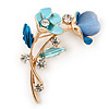 Azure/ Blue Crystal Calla Lily With Cat's Eye Stone Floral Brooch In Gold Tone - 48mm L