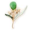 Green/ Mint Enamel Cat's Eye Stone Flower Brooch In Gold Tone - 50mm L