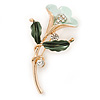 Mint/ Dark Green Enamel, Crystal Calla Lily Brooch In Gold Plating - 53mm L