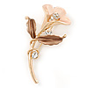 Bronze/ Magnolia Enamel, Crystal Calla Lily Brooch In Gold Plating - 53mm L