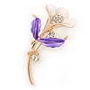 Purple/ Magnolia Enamel, Crystal Calla Lily Brooch In Gold Plating - 53mm L