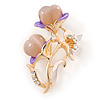 Purple Enamel, Crystal With Pink Glass Stones Floral Brooch In Gold Plating - 45mm L