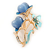 Azure Enamel, Crystal With Blue Glass Stones Floral Brooch In Gold Plating - 45mm L