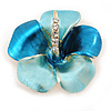 Light Blue/ Teal Enamel, Crystal Flower Brooch In Gold Plating - 30mm Across