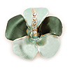 Mint Green/ Dark Green Enamel, Crystal Flower Brooch In Gold Plating - 30mm Across
