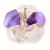 Purple/ Cream Enamel, Crystal Flower Brooch In Gold Plating - 30mm Across