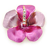 Pink/ Fuchsia Enamel, Crystal Flower Brooch In Gold Plating - 30mm Across