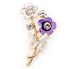 Purple/ Cream Enamel, Crystal Flowers and Butterfly Brooch In Gold Tone - 50mm L
