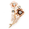 Magnolia/ Bronze Enamel, Crystal Flowers and Butterfly Brooch In Gold Tone - 50mm L