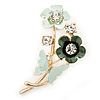 Mint/ Dark Green Enamel, Crystal Flowers and Butterfly Brooch In Gold Tone - 50mm L
