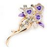 Pink/ Purple Enamel, Crystal Triple Flower Brooch In Gold Tone - 55mm L