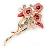 Pink/ Coral Enamel, Crystal Triple Flower Brooch In Gold Tone - 55mm L
