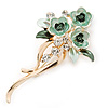 Mint/ Dark Green Enamel, Crystal Triple Flower Brooch In Gold Tone - 55mm L