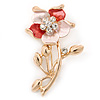 Coral/ Magnolia Enamel, Crystal Daisy Brooch In Gold Plating - 50mm L