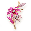 Fuchsia/ Pink Enamel, Crystal Double Flower Brooch In Gold Plating - 62mm L