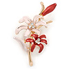 Pink/ Coral Enamel, Crystal Double Flower Brooch In Gold Plating - 62mm L