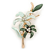 Mint/ Dark Green Enamel, Crystal Double Flower Brooch In Gold Plating - 62mm L