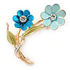 Light Blue/ Teal/ Olive Two Daisy Floral Brooch - 50mm L
