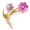 Pink/ Magenta/ Olive Two Daisy Floral Brooch - 50mm L