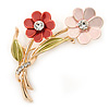 Pink/ Coral/ Olive Two Daisy Floral Brooch - 50mm L