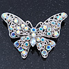 AB Crystal Butterfly Brooch In Silver Tone - 55mm Across