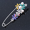 Multicoloured Enamel Flowers, Bee, Simulated Pearls Safety Pin Brooch In Silver Tone - 80mm L