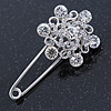 Clear Crystal Flower Safety Pin Brooch In Silver Tone - 55mm L