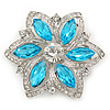 Cyan Blue/ Clear Glass Crystal Flower Brooch In Rhodium Plating - 53mm Across