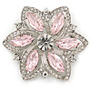 Pink/ Clear Glass Crystal Flower Brooch In Rhodium Plating - 53mm Across
