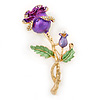 Romantic Purple/ Green Enamel, Crystal Rose Brooch In Gold Plating - 65mm L