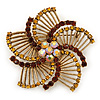Vintage Inspired Topaz/ Citrine Crystal Filigree Flower Brooch In Gold Plating - 60mm Diameter