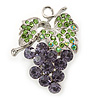 Lavender, Green Crystal Bunch Of Grapes Brooch In Rhodium Plating - 45mm L