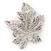 Silver Tone Clear Crystal Maple Leaf Brooch - 50mm L