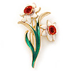 White/ Green/ Orange Daffodil Floral Brooch In Gold Plating - 55mm L