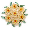 Green/ Nude/ Yellow Enamel Daffodil Wreath Brooch In Gold Plating - 45mm Diameter
