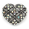 Marcasite AB Crystal Heart Brooch - 40mm L