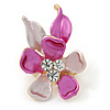 Small Pink/ Fuchsia Enamel, Crystal Flower Brooch In Gold Tone - 30mm